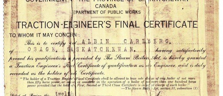 Albin Carlberg's steam operator's certificate issued in 1915.