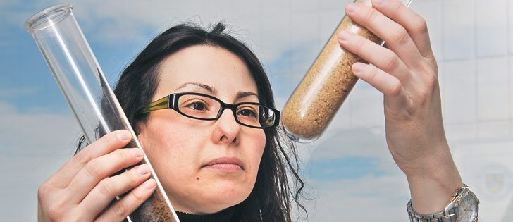 Katerina Theodoridou has been studying the nutritional value of canola meal and press cake at the University of Saskatchewan. Her research has compared yellow and brown seeded canola meal with the brown-seeded canola press cake.  |  William DeKay photo