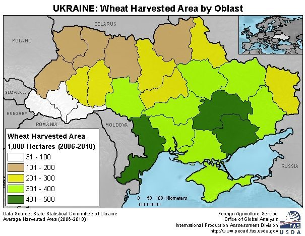 Map Of Ukraines Wheat Producing Districts The Western Producer - Us wheat production map