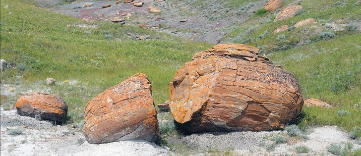 Red Rock Coulee covers 800 acres of crown land in southeastern Alberta. The boulders are millions of years old. |  Arlene and Robin Karpan photo