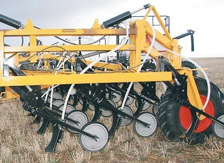 The air seeder offers an opening coulter as an option. This unit owned by a Montana producer doesn't have one.  |  Ron Lyseng photo