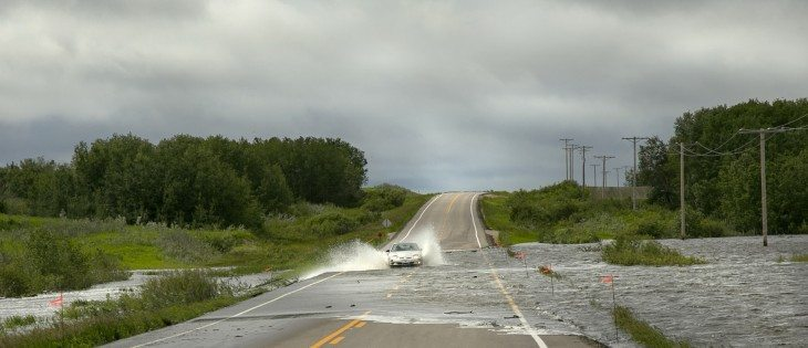 Highway 15 just east of Fenwood, Sask., fell underwater early on June 30.  |  Robin Booker photo