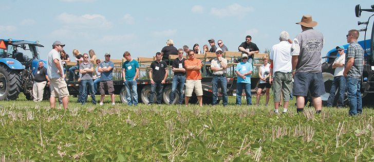 The annual Indian Head Agricultural Research Foundation field day drew a good crowd in front of the soybean trials.  |  Karen Briere photo