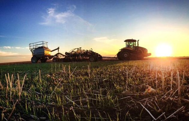 Simon Ellis @FarmLifeMB @westernproducer onto the last field of #plant15. Soybeans during a sunset at Wawanesa, MB.