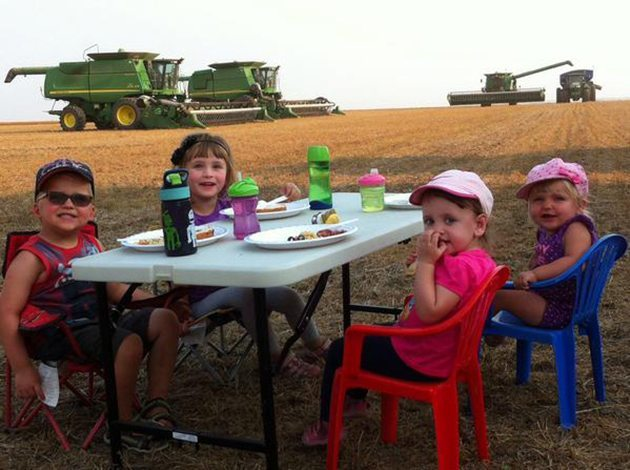 Carson Seman ‏@CarsonSeman Supper in the field #harvest15 @westernproducer