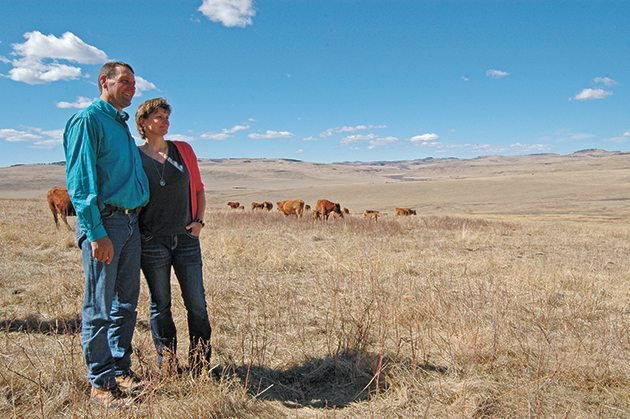 Gerald and Patricia Vandervalk operate VXV Farms along with Gerald's father and mother, Jack and Merry Vandervalk. The ranch is 4,400 acres with a 400-head cow herd. Barb Glen photo.