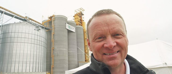 Karl Gerrand, CEO of G3 Canada, smiles in front of the new elevator in Glenlea, Man.  |  Ed White photo