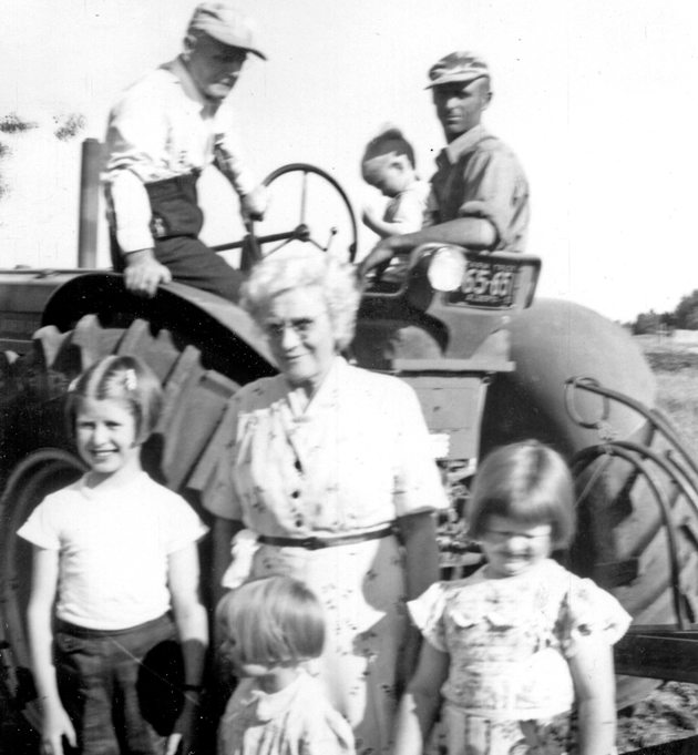 Edward and Alice Hathaway pose with son Harold and his children in 1955. | Hathaway family photo