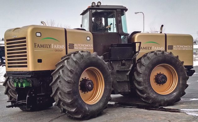 """Dubbed """"Big Jim""""  by ATC engineers, this eDrive converted JD 8760 has two diesel engines, two generators and four electric drive wheels.  The diesel/electric system allows precise control of the four drive tires.  