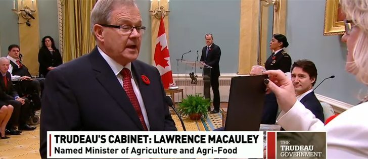 Lawrence MacAulay, a former potato farmer from PEI has been named minister of agriculture and agri-food in prime minister Justin Trudeau's newly-sworn-in cabinet. | Photo courtesy CBC