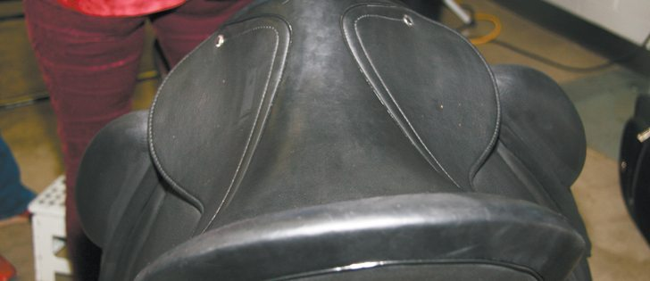 Designing a saddle for women includes many gender-specific features such as a wider front as shown here. Although this is an English style saddle, the criteria for finding the proper fit applies to western saddles as well.  |  Barbara Duckworth photo