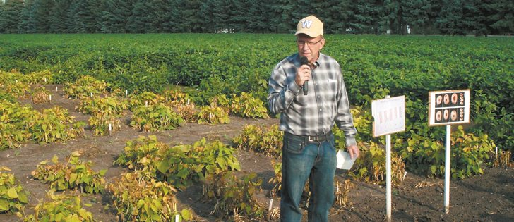 Agriculture Canada researcher Bob Conner is pleased with his efforts to produce a sickly bean crop, explaining to field tour participants how researchers encourage diseases to find ways to fight them. | Ed White photo