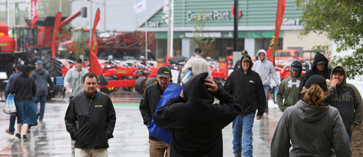 Rain and wind combined to lower attendance slightly at Canada's Farm Progress show Thursday. | Robin Booker photo