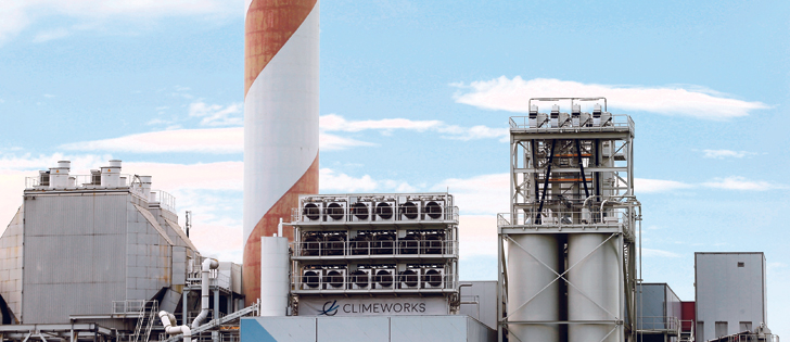 A facility for capturing CO2 from the air of Swiss Climeworks AG is placed on the roof of a waste incinerating plant in Hinwil, Switzerland.  |  REUTERS/Arnd Wiegmann photo