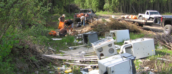 A particularly egregious incident involved the dumping of 55 commercial air conditioning units in one forested region. Officials have also found abandoned kitchen appliances and vehicles on public lands. | Government of Alberta photo