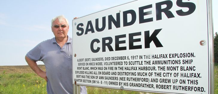Les Ferris, president of the Legion in Holland, Man., has worked to erect signs in south-central Manitoba that honour soldiers who died in WWI. The Holland Legion wants to name more creeks after local WWI casualties, but the province of Manitoba is rejecting their proposals. | Robert Arnason photo