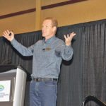 Kevin Stewart addressed asking difficult questions to create change, growth and innovation on the farm at the Outstanding Young Farmers conference in Penticton, B.C.  |  Karen Morrison photo