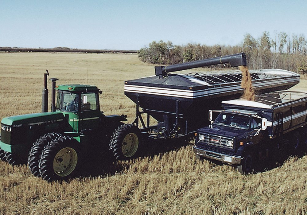 "Farmer Eric Johnson of Nokomis, Sask., said the idea to build his 5,000 bu. transfer cart hit him right ""out of the blue""18 years ago. To the best of our knowledge he built the world's first one in 2000.  