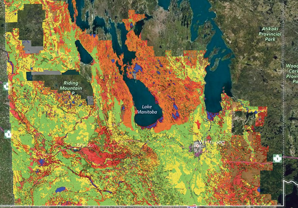 This soils map of Manitoba rates agricultural capacity and is available on the website.  |  GIS4Ag image