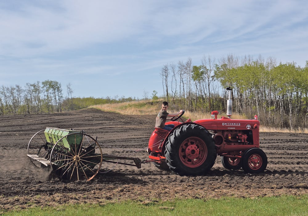 Carson Ebeling, 14, drives a 1950 McCormick Super W6 tractor to seed barley from his 1929 John Deere steel wheel seed drill.  |  Maria Johnson photo