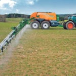 Amazone pull-type sprayers have a re-circulation system that prevents product from sitting idle in the boom or at the nozzles. The two axles have independent steering, hydraulic suspension, air-drum brakes and the machine has the ability to transfer four tonnes of trailer weight to the rear of the tractor.  |  Amazone photo