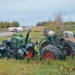 A tractor crossing the highway near Westlock, Alta., was hit by a truck carrying propane. |  Les Dunford photos