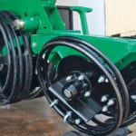 Spring steel wheel sheds mud better than rubber