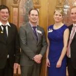 This year's National Outstanding Young Farmers from left are the McKay brothers: Alex and Jordan, of Willow Tree Farms in Port Perry, Ontario; and Jinel and Craig Ference of Double F Farms at Kirriemuir, Alberta.  |  Outstanding Young Farmers photo