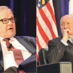 Federal Agriculture Minister Lawrence MacAulay, left, and U.S. Agriculture Secretary Sonny Perdue have talked about the potential threat of African swine fever to the North American hog industry.  |  Robert Arnason photos