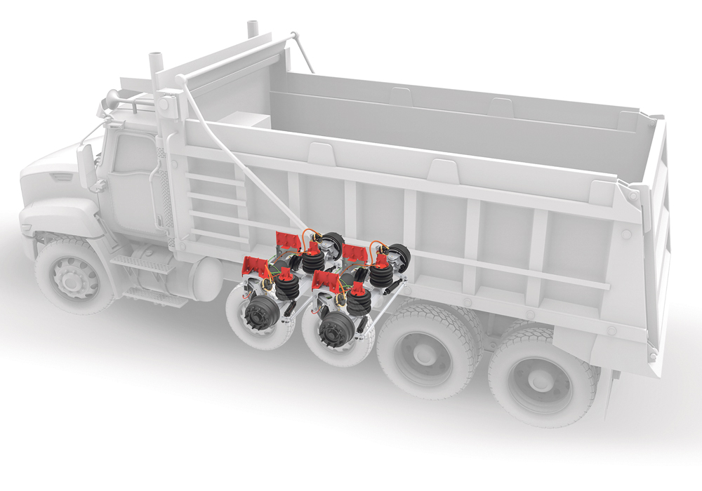 By standardizing mounting brackets and other components throughout its entire lineup, Link Manufacturing says a complete new self-steering suspension can be installed in just two hours.  |  Link illustration