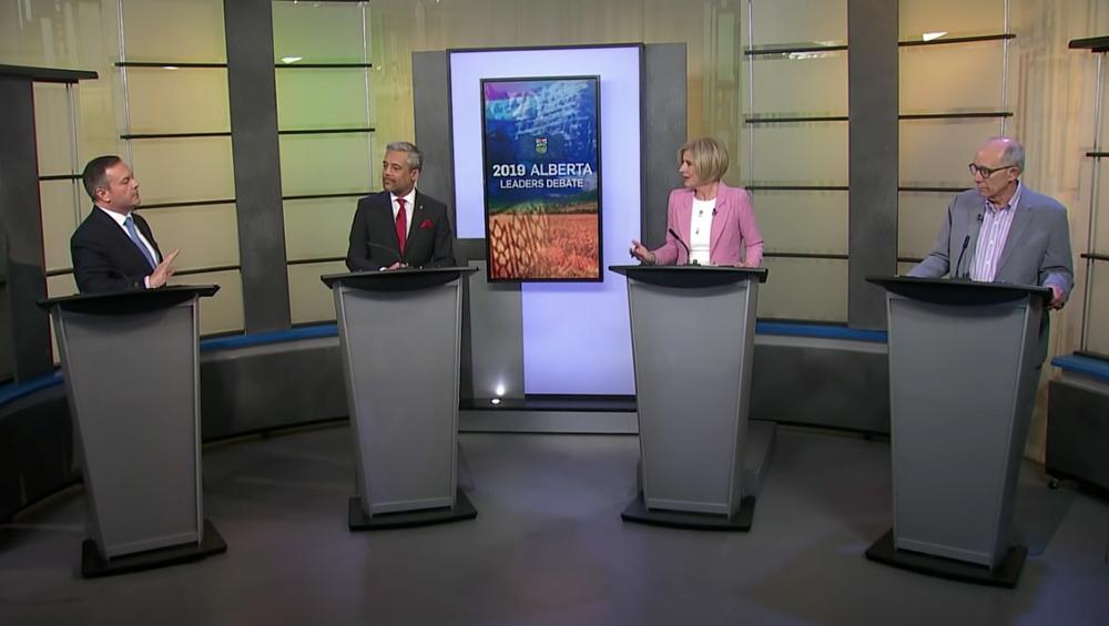 UCP Leader Jason Kenney, Liberal Leader David Khan, NDP Leader Rachel Notley and Alberta Party Leader Stephen Mandel square off during the leaders debate April 4 in Edmonton.