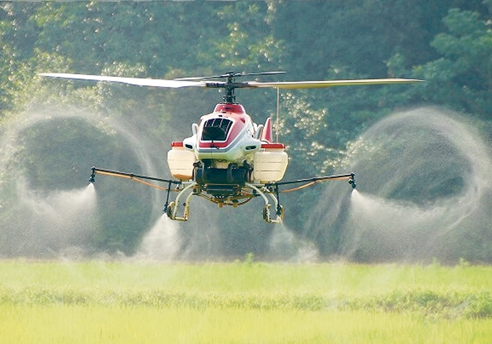There is a common misconception that helicopter rotors push the spray down toward the crop. However, as this photo of a Yamaha R-Max shows, the down-wash sends product swirling in all directions. Spraying expert Tom Wolf says this is a major factor that may prevent rotary drones from receiving federal approval for spraying.  |  Creative Commons image