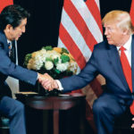 Japanese Prime Minister Shinzo Abe shakes hands with U.S. President Donald Trump after signing a joint statement on trade during a bilateral meeting on the sidelines of the 74th session of the United Nations General Assembly in New York City Sept. 25.  |  REUTERS/Jonathan Ernst photo
