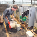 Siem de Boer prepares milk for his calves on his farm near Edam, the Netherlands. He says he is happy with the results achieved using AHV International's products.  |  Chris McCullough photo