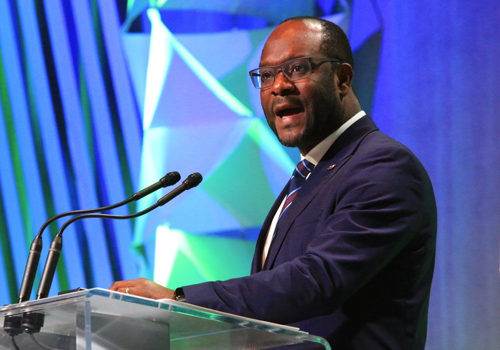 Alberta Municipal Affairs Minister Kaycee Madu speaks at the Rural Municipalities of Alberta convention in Edmonton. Madu announced the government's plan to allow municipalities to tax cannabis producers at a higher rate. | Jeremy Simes photo