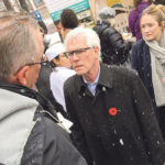 Jim Carr, at the time international trade minister, talks to Brian Chorney of the Manitoba Canola Growers Association last November about an upcoming trade mission to China. Canada's relationship with the Asian country has since deteriorated significantly.  |  File photo