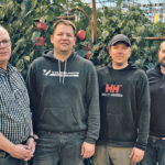 Partners in Doef's Greenhouses Ltd. include founder Joe Doef, left, Eric Doef, head grower in charge of planning and communication, Paul Doef, labour manager who also does payroll, and Phil Visscher, who handles maintenance, fertigation and accounts payable. They meet regularly and work together to manage issues and make important decisions. | Maria Johnson photo