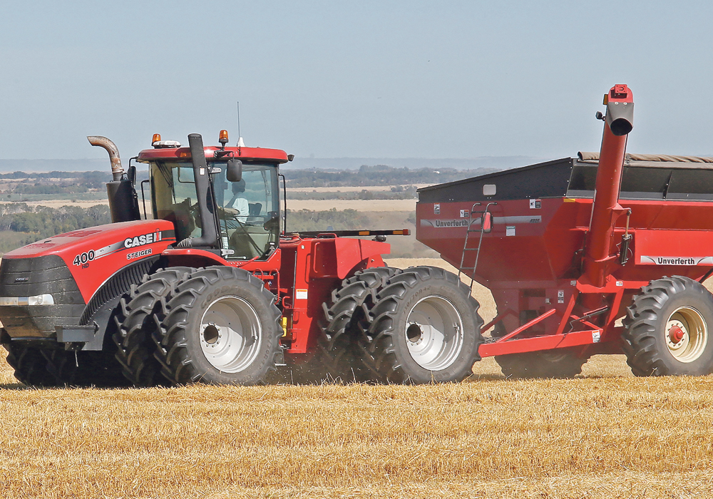 Deep compaction is largely caused by heavy axle loads and it's very difficult to fix. A 1,200 bushel single axle grain cart can have an axle weight of up to 40 tonnes.  |  Robin Booker photo