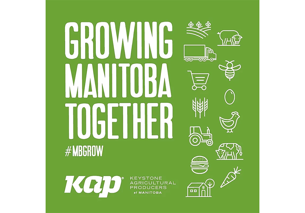 The initiative, called Growing Manitoba Together, will feature stickers and a social media blitz. | Screencap via KAP.ca