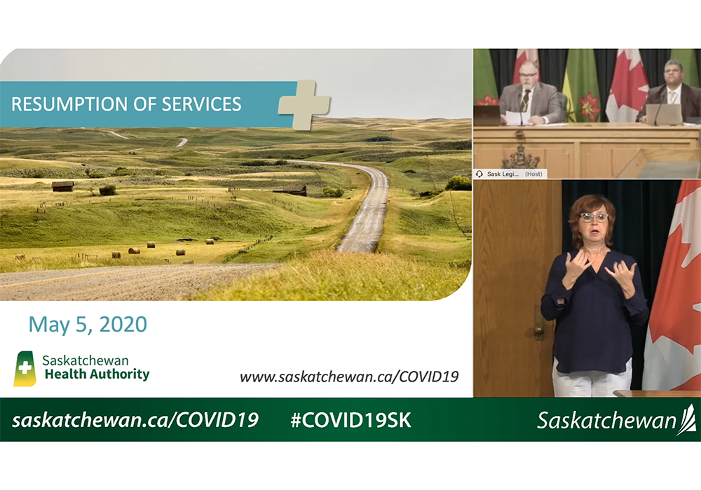 Scott Livingstone, CEO of the Saskatchewan Health Authority, said May 5 that a single employee at a Saskatoon dairy facility tested positive. | Screencap via YouTube/Government of Saskatchewan