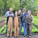 Three generations of Hooglands — Jake, left, Kolton, Evangeline, Sophia, Kurt and Sherry-Ann — operate a market garden and raise livestock near Blackfalds, Alta. | Maria Johnson photo
