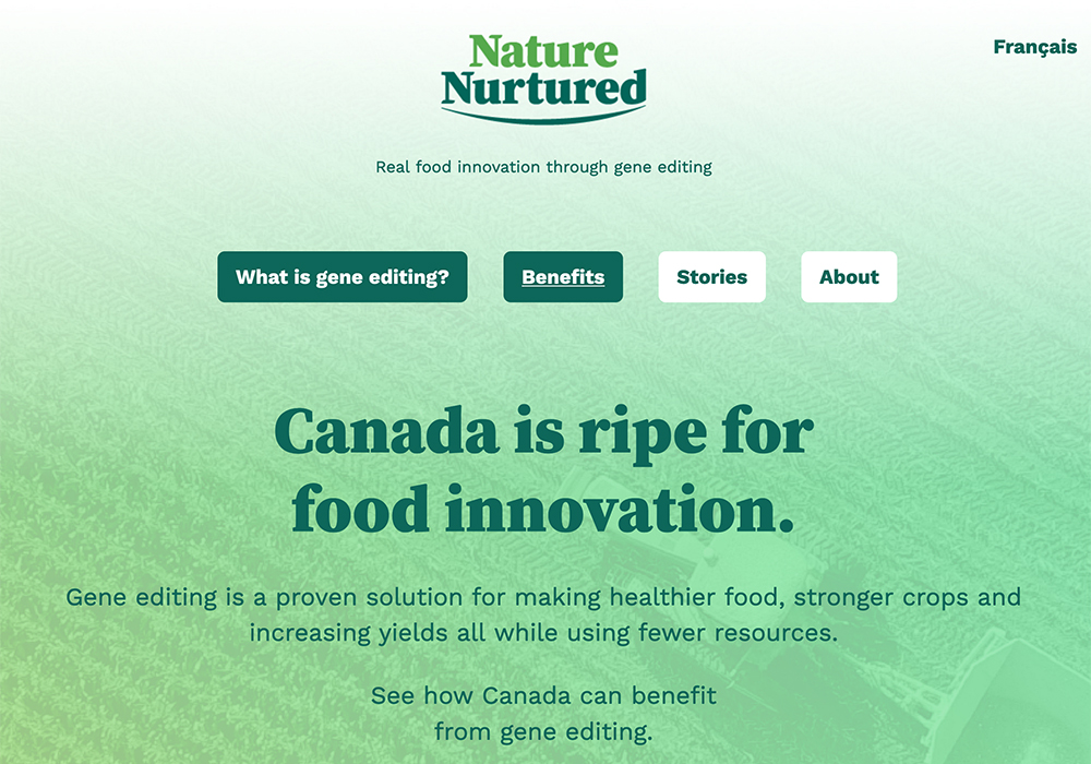 To correct misperceptions about gene-edited crops and provide information about their benefits, CropLife Canada, along with the Canadian Seed Trade Association and the Canada Grains Council, have launched a new website: https://naturenurtured.ca/. | Screencap via naturenurtured.ca