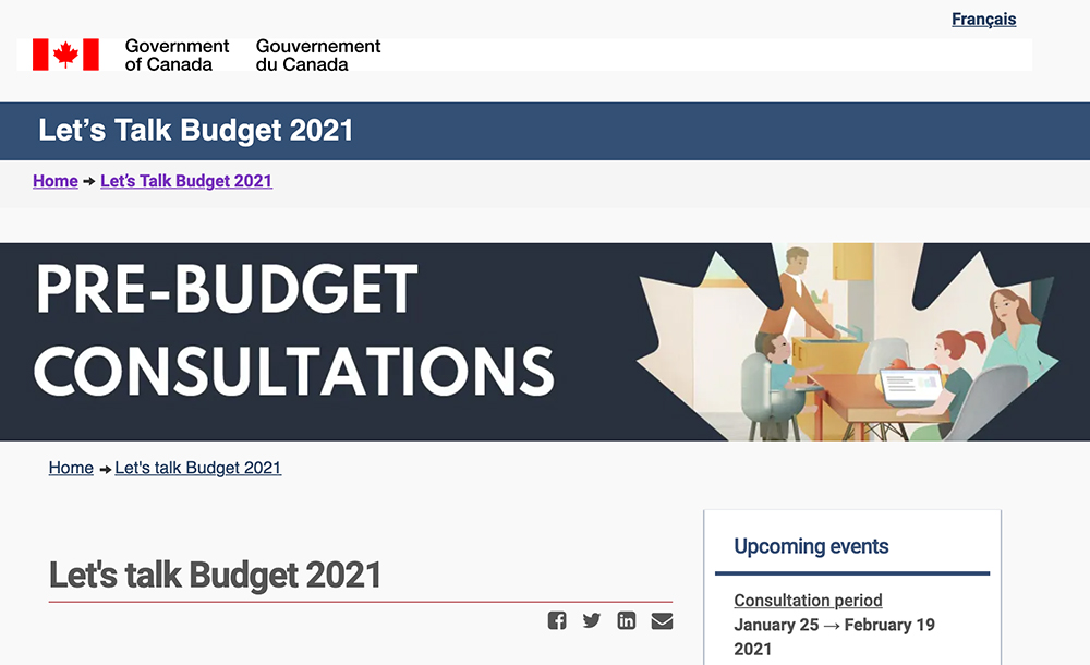On Jan. 25, deputy Prime Minister and Finance Minister Chrystia Freeland launched pre-budget consultations with stakeholders. | Screencap via letstalkbudget2021.ca