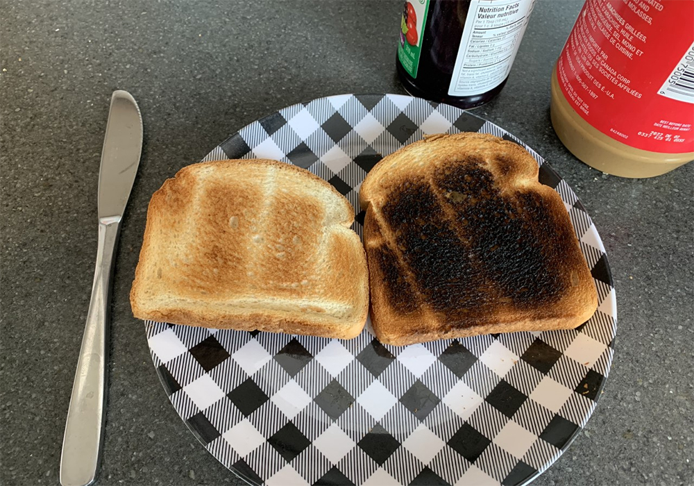 Burnt bread contains a compound known as acrylamide, a chemical that can cause cancer. Plant scientists in England have found a way to reduce the cancer risk from toasted bread using gene editing. | Robert Arnason photo