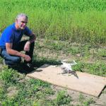 Nicolas Tremblay prepares to take flight at the Agriculture Canada Saint-Jean-sur-Richelieu experimental site in L'Acadie, Québec.  |  AAFC photo