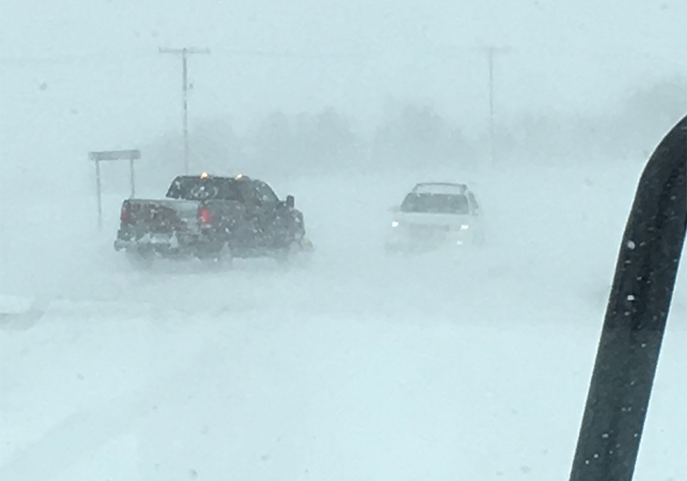 A spring snowstorm brought heavy snow and high winds to much of southern Saskatchewan. | Twitter@SKGovHwyHotline photo