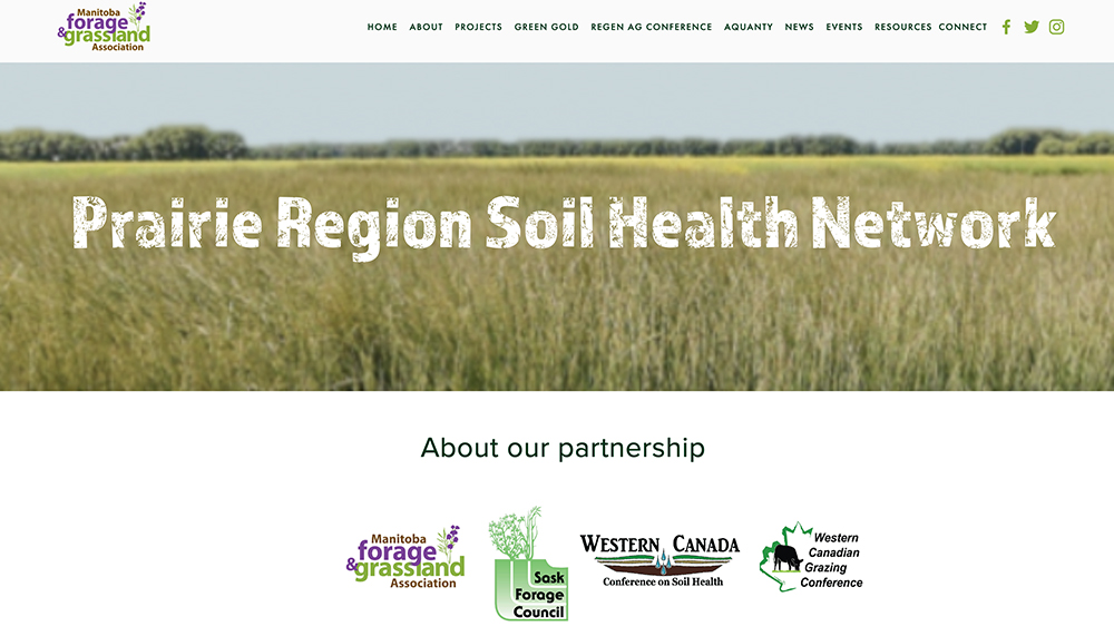 The Manitoba Forage and Grassland Association, Saskatchewan Forage Council and the Western Canada Conference on Soil Health and Grazing, in Alberta, are joining forces to promote each other's events and activities. | Screencap via mfga.net