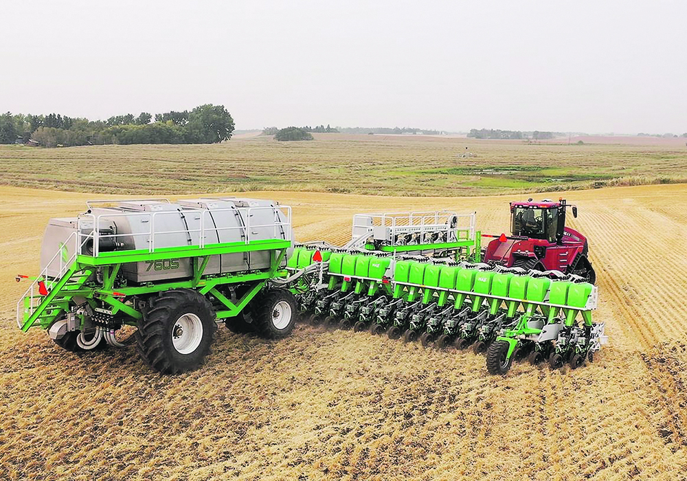 The Clean Seed Capital Group plans to build its Smart Seeder Max-S in Saskatoon. This model was photographed seeding winter wheat in central Alberta. | Clean Seed photo