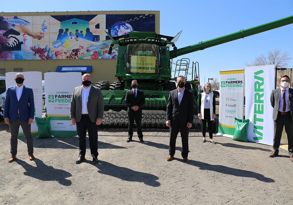 Viterra, Canmar Food Products and Conexus Credit Union are among those collaborating on the Viterra Farmers Feeding Families initiative launched May 5. | Facebook/Regina & District Food Bank photo