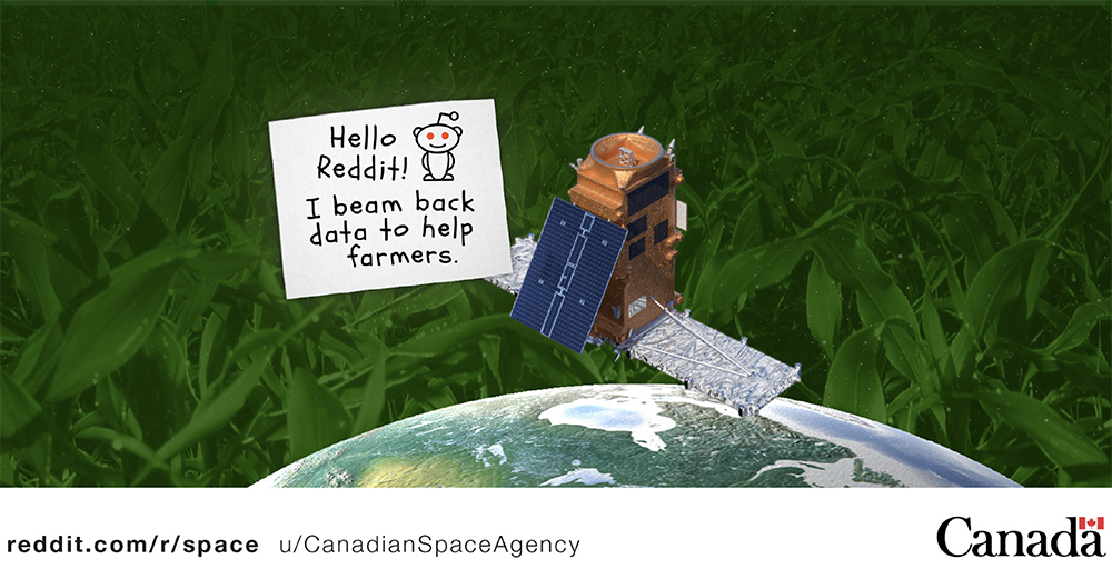 A CSA official kicked off the event by answering the broad question of how space helps agriculture, writing about the 93.4 million acres of cropland that needs monitoring in the country. | Twitter/@csa_asc image